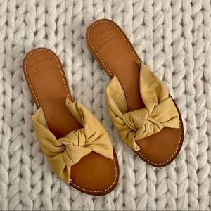 COPY - Yellow linen knot slide on sandals